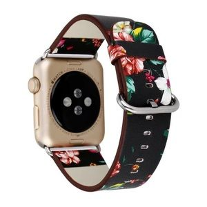 Accessories - NEW Black Floral Vegan Leather Apple Watch Band